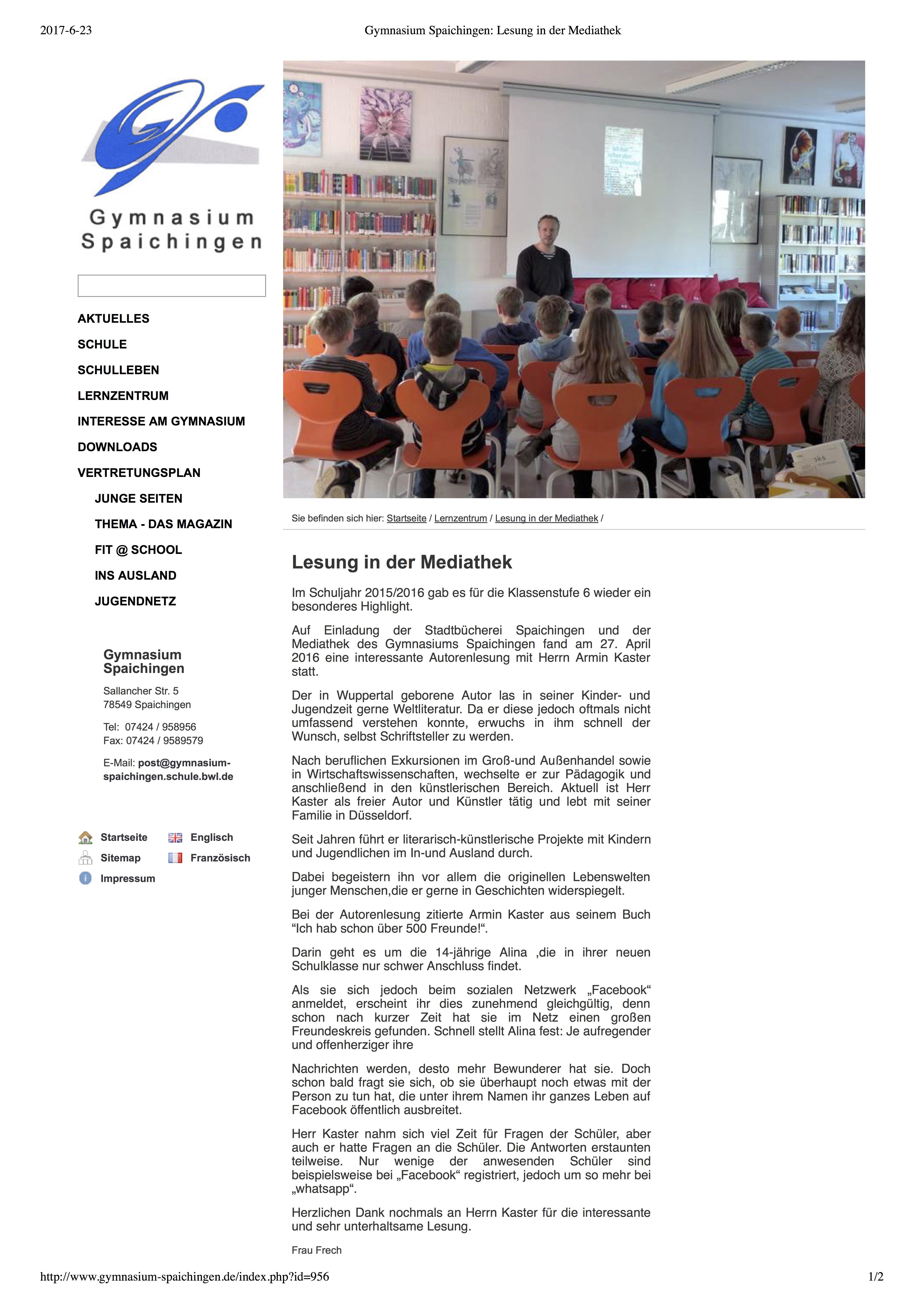 4. Gymnasium Spaichingen_ Lesung in der Mediathek