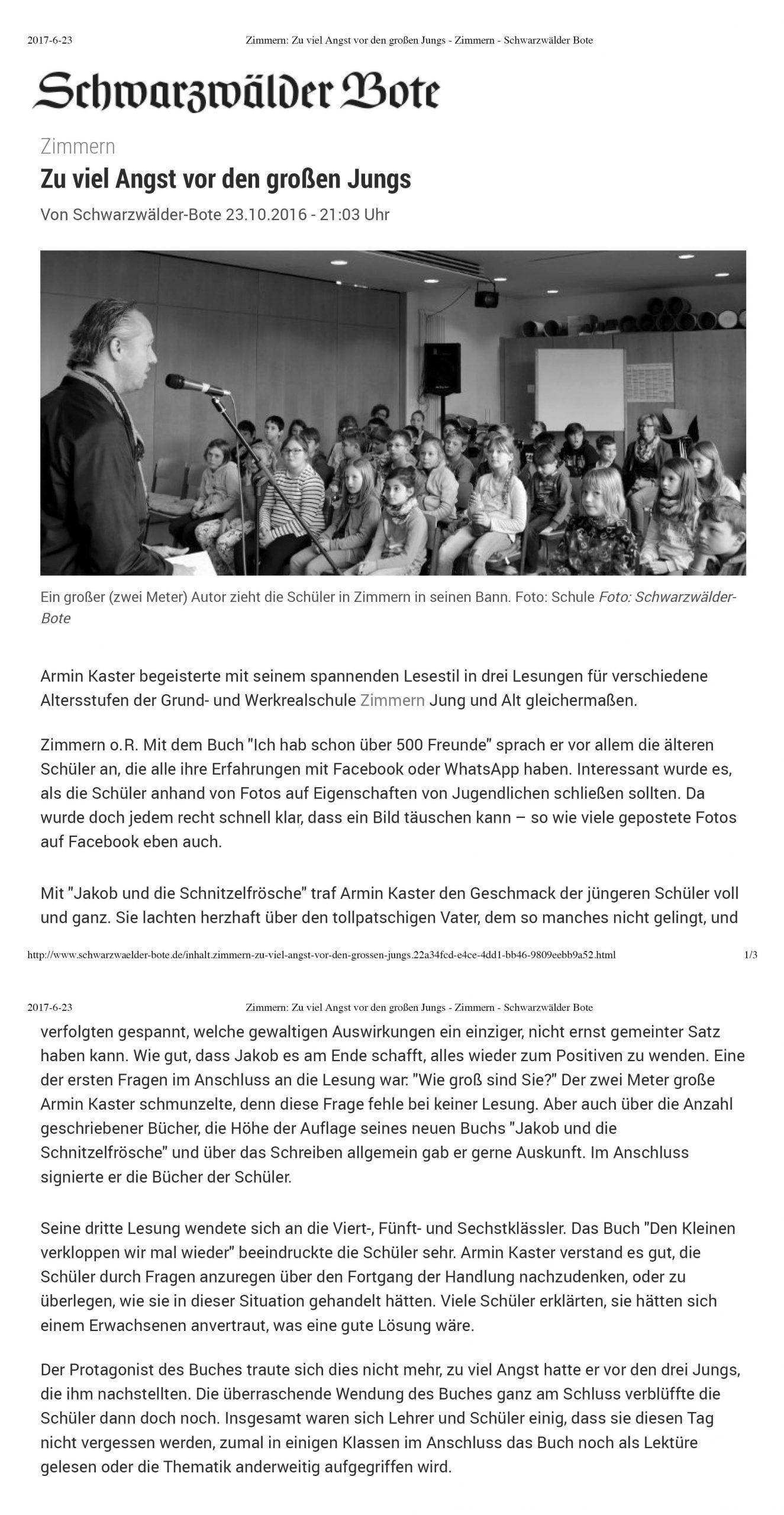 7. 23.10.2016 Zimmern_ Zu viel Angst vor den großen Jungs - Zimmern - Schwarzwälder Bote